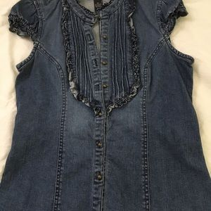 Denim top no sleeve blouse